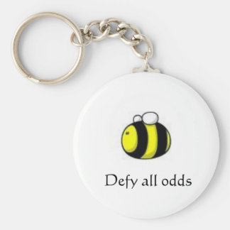 Bee Keychain- defying odds Basic Round Button Key Ring