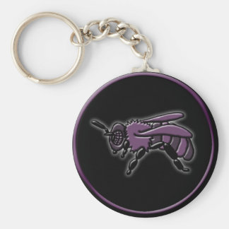 Bee, keychain basic round button key ring