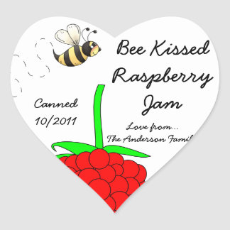 Bee Kissed Raspberry Jam Jar Label (Customize)