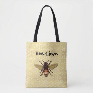 Bee-Lieve Honeycomb Honey Bee Tote Bags