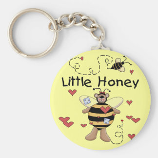 Bee Little Honey t-shirts and Gifts Basic Round Button Key Ring