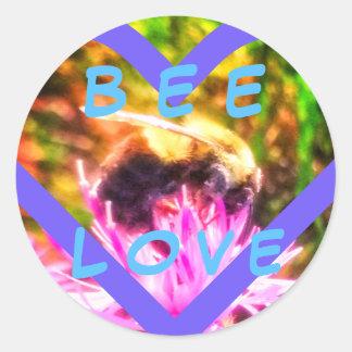 BEE LOVE+ large round sticker