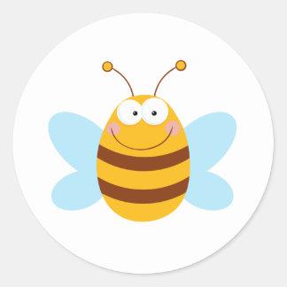 Bee Mascot Cartoon Character Round Sticker