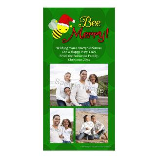 Bee Merry Cute Bumblebee Holiday Photo Greeting Card