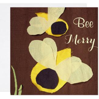 """""""Bee Merry"""" happy honeybees 13 Cm X 13 Cm Square Invitation Card"""