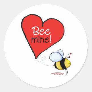 Bee Mine Valentine Round Sticker