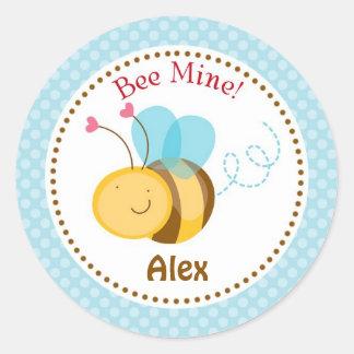 Bee Mine Valentine Stickers (Blue) - Boys Children