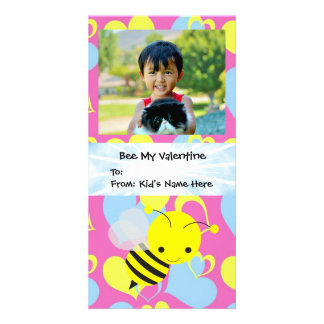 Bee My Valentine Kid's Personalized Photo Card