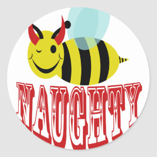 bee naughty classic round sticker