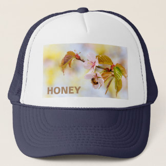Bee On A Cherry Flowe Trucker Hat
