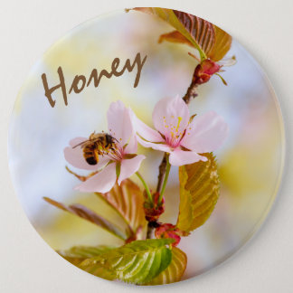 Bee On A Cherry Flower 6 Cm Round Badge