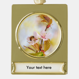Bee On A Cherry Flower Gold Plated Banner Ornament