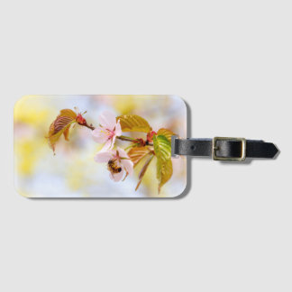 Bee On A Cherry Flower Luggage Tag