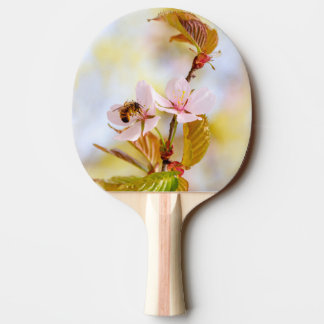 Bee On A Cherry Flower Ping Pong Paddle