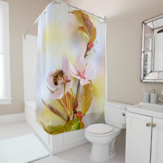 Bee On A Cherry Flower Shower Curtain