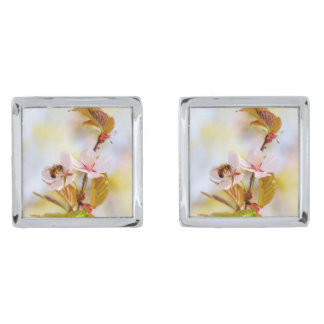 Bee On A Cherry Flower Silver Finish Cufflinks