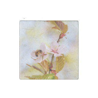 Bee On A Cherry Flower Stone Magnet