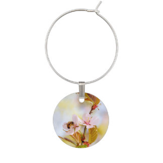 Bee On A Cherry Flower Wine Charm