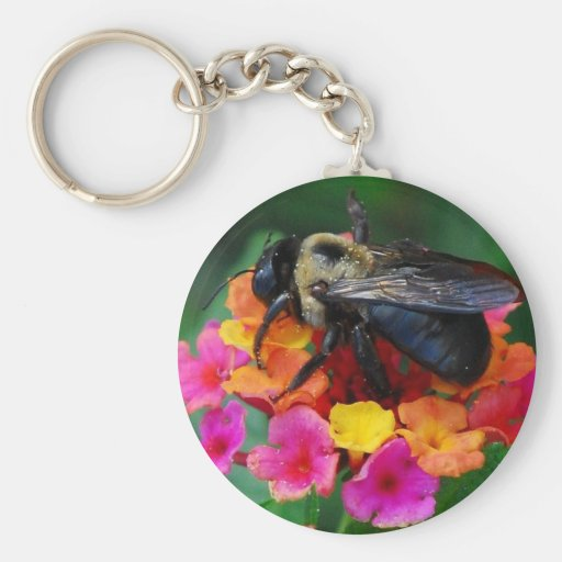 Bee on a Flower Keychain