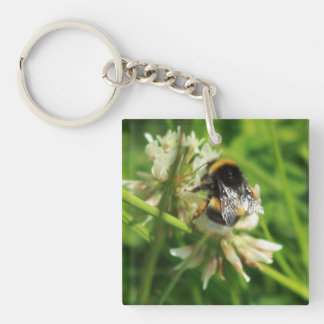 Bee on a flower Single-Sided square acrylic key ring