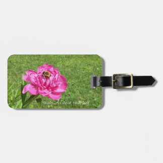 Bee on a Pretty Rose Bag Tag