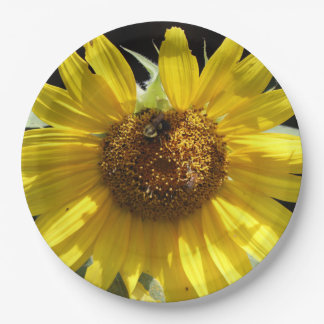 Bee on a Sunflower, Paper Plate. 9 Inch Paper Plate