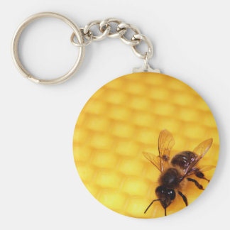 Bee on a wax basic round button key ring
