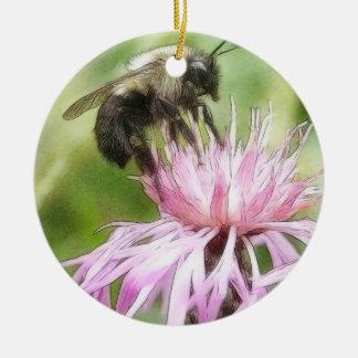 Bee On Bachelor Button Christmas Ornaments