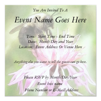 """Bee On Bachelor Button 5.25"""" Square Invitation Card"""