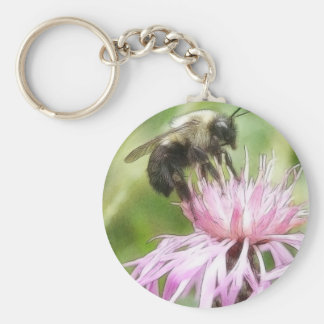 Bee On Bachelor Button Keychain