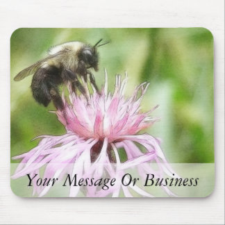 Bee On Bachelor Button Mouse Pad