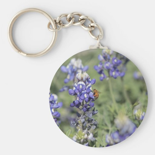 Bee on Bluebonnet Keychains