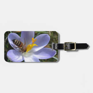 bee on crocus luggage tag
