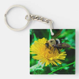Bee on Dandelion Keychain