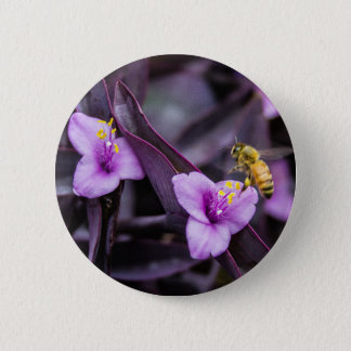 Bee on Flower 6 Cm Round Badge