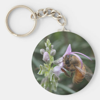 Bee on Flower Basic Round Button Key Ring