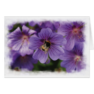 Bee On Flower Blank Greeting Card