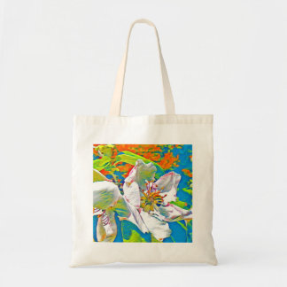 Bee on flower in tropical colors tote bag