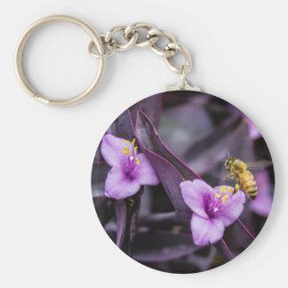Bee on Flower Key Ring