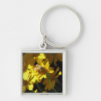 Bee on flower Silver-Colored square key ring