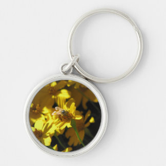 Bee on flower Silver-Colored round key ring
