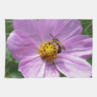 bee on flower tea towel