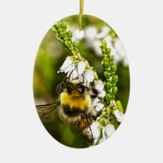 Bee on Lucky White Heather Ceramic Oval Decoration
