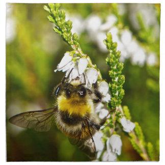 Bee on Lucky White Heather Napkin