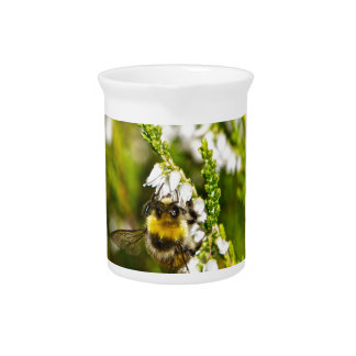 Bee on Lucky White Heather Pitcher