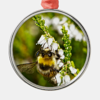 Bee on Lucky White Heather Silver-Colored Round Decoration