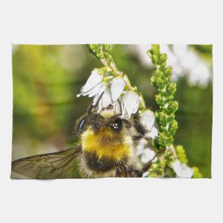 Bee on Lucky White Heather Tea Towel