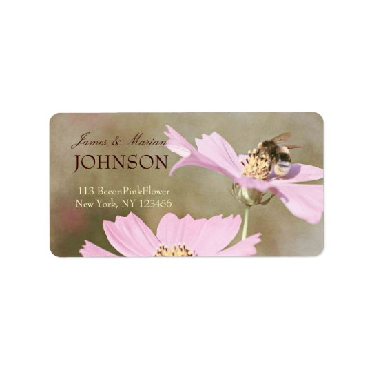 Bee on Pink Flower Label