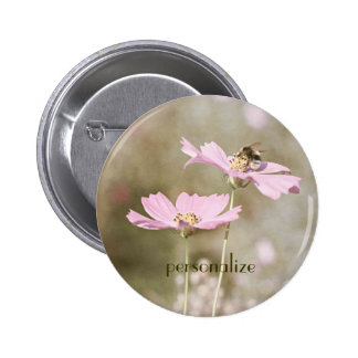 Bee on Pink Flower Pinback Buttons