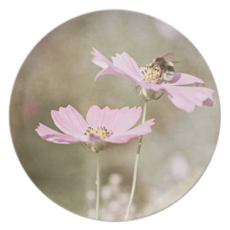 Bee on Pink Flower Plate